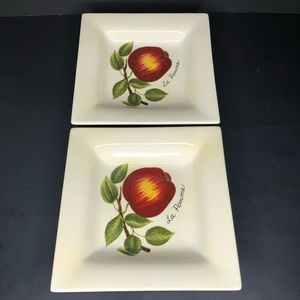 "2 Tabletops Lifestyles Le Fruit 8"" Square Plates"